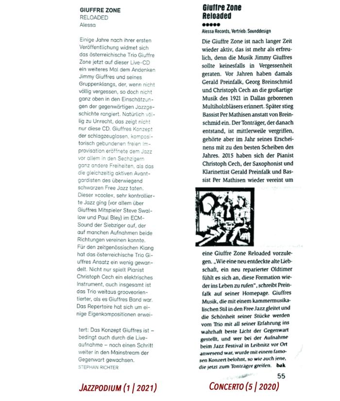 Giuffre Zone - Reloaded Critics
